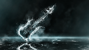 Exploding Water Guitar Wallpaper by CryoGfx