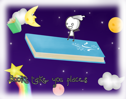 Books Take You Places by OnigirixPlushie