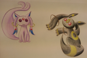 Espeon and Umbreon Kyuubeys by WaterFerret