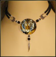 Stalking Tiger Black Onyx and Crystal Necklace by White-Wolf-Gallery