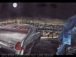 1969 Oldsmobile 442 Overlooking LA Night Skyline by FastLaneIllustration