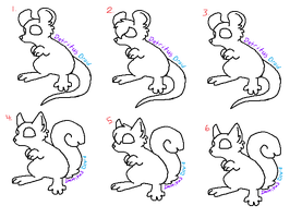 FREE Little Rodents Adoptables Lineart by DetritusDroid