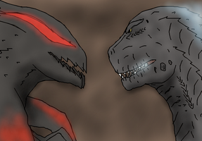 M.U.T.O and Godzilla 2014 by TheSpiderAdventurer