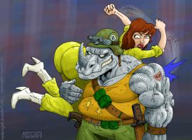 April and Rocksteady by mastaczajnik