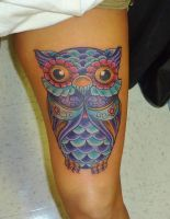 Colorfull Owl Tattoo For A Girl By Kevin Gordon Ta by kmgsucks