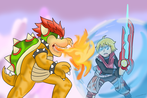 Shulk vs. Bowser by Xero-J