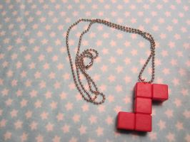 Red Tetris-esque Block Necklace by colbyjackchz