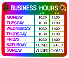 Freddy Fazbear's Pizzeria Hours of Operation Sign by MrAngryDog