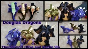 Douglas Dragons Thundebolt Olive and Merlin by Vesperwolfy87