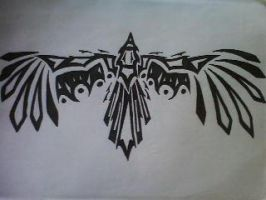 Tribal raven tattoo by Free-Bird94