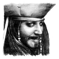 Captain Jack Sparrow  - pencil drawing by xbooshbabyx