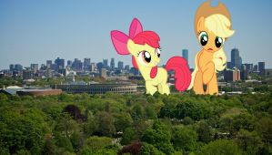 Apples in the city by TheOtterPony