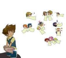 Digimon: Floating chibis n Tai by Shigerugal