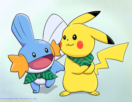 Day 7: Mystery Dungeon Pikachu and Mudkip by MisterPhoenixDA