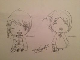 Chibi Prussia and Chibi Canada by GillyRainbows
