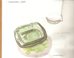 Watercolor: Green Glass Dish by InvisibleDuck