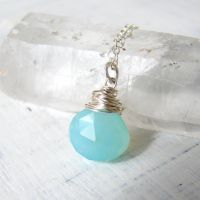 Tiffany.blue.briolette.pendant by OneLoomStudio