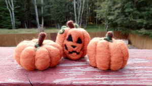 Needle Felted Pumpkin Patch Set by DancingVulture