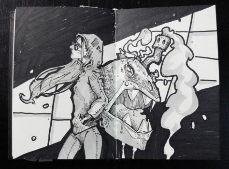 Sketch: Apathy and angry backpack by Nieris