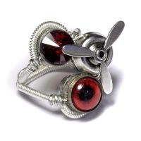 Airship red steampunk Ring by CatherinetteRings