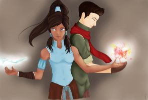 Avatar: Korra and Mako by SeleneSophia
