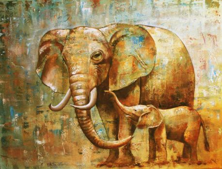 Elephantmother and baby by Ahau2