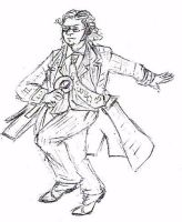Professor running sketch by IronOutlaw56