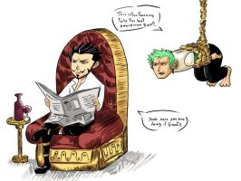 Zoro and Mihawk training by whitetom
