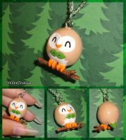 Pokemon - Rowlet Charm Necklace - Alola Starters by YellerCrakka
