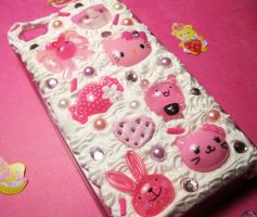 Kawaii Pink and Hello Kitty Deco iPhone Case by JennyLovesKawaii