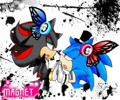 Shadow x Sonic - Magnet-paint by 415sonic