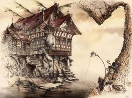 Steampunk Landscape by GrimDreamArt