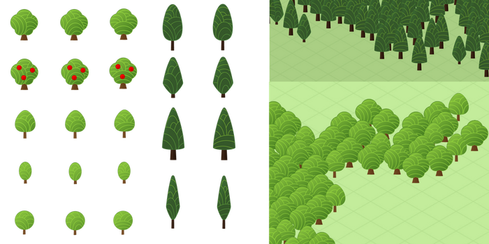 Cute Map Icons: Trees by noeinan