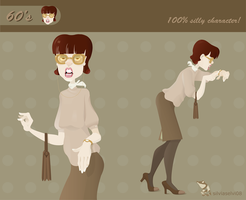60's bespectacled woman by wizzyloveszebras