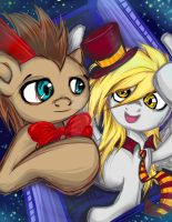 Dr. Whooves and Derpy by BuckingAwesomeArt