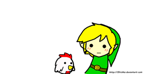 Cucco and link chibi by Elrickku