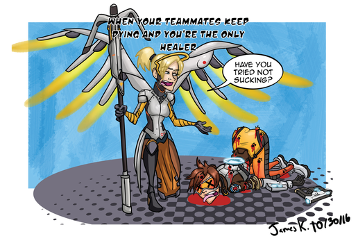 Overwatch: Healer Troubles-blood by killer-kay-james