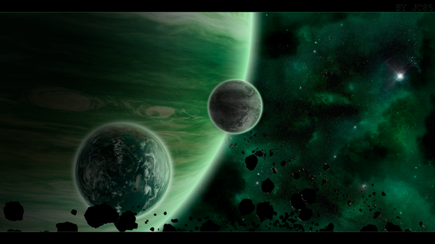 Wallpaper Spaceart - green giant by Mataraelfay