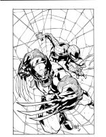 Joe Mad Wolverine Spiderman inks by JosephLSilver