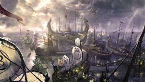 Floating ship town by TARGETE
