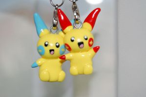 Plusle and Minun Pokemon Polymer Clay Charms by puddingfishcakes