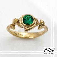 Kokiri's Emerald 14k gold engagement ring by mooredesign13