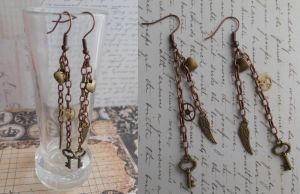 New Stempunk earrings with small pendants and gear by SteamJo