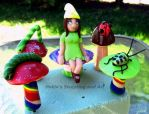 Gnome girl and bug buddies plant stakes by HollieBollie