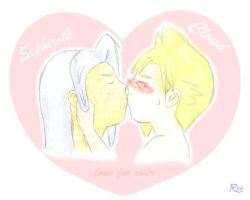 Kiss Children Cloud x Sephiroth by rea-drawingzone