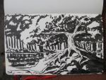 Pen Brush Sketch: Tree and Pond by Callego