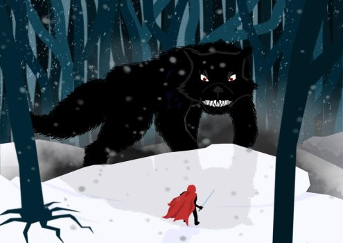 Warrior Red and the Big Bad Wolf by zombie-polaroids
