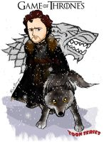Robb Stark and Grey Wind - Game of Thrones by toonseries