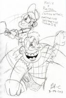 Wreck-it-ralph and fix-it-felix combo attack by spongefox