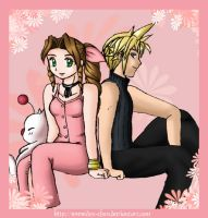 Cloud+Aerith sitting pretty by CapricornSun83